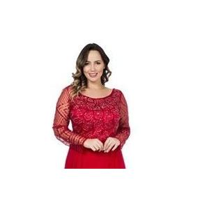 Vestido Vermelho Manga Longa/madrinha/mãe De Noiva/casamento