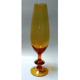 Bonita Copa Decorativa Grande Vidrio Color Caramelo Años 70