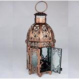 Lanterna Marroquina Decoração Metal Vidro Cobre + Vela Led