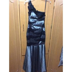 Vestido De Noche Liz Mineli Color Gris Nuevo