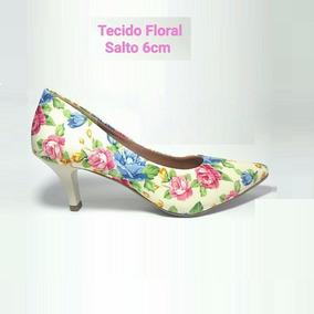 Sapato Scarpin Floral 6 Cm