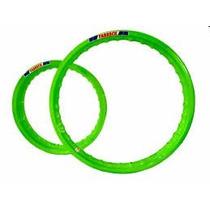 Par Aro Moto Alumínio Cor Verde Neon Titan 150 18x160+18x185