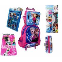 Mochila Escolar Infantil Frozen Kit Com Relógio Projetor
