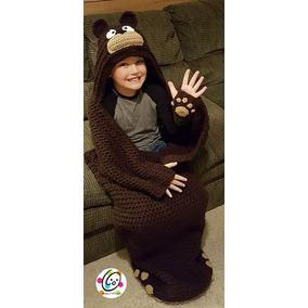 Cobija Capullo Tejida A Crochet Individual Oso Niños