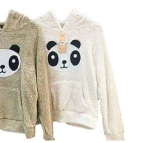 Blusa Casaco Feminino Pelo Felpuda Panda Capuz Touca Inverno 61a63735133