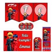 Kit Miraculous Ladybug, Stickers, Banderín Impreso!