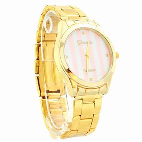 Reloj Shell Análogo Elegante Con Rayas Color Rosa Y Blanca