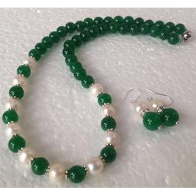 Collar De Perlas Blancas Akoya Y Jade Con Aretes