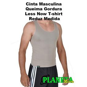Cinta Masculina Queima Gordura Less Now T-shirt Reduz Medida