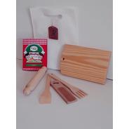 Kit Cocina C/ Bolsa P/ Niños Madera Cuchara Tenedor Juguete