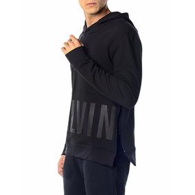 Casaco Calvin Klein Jeans Capuz E Zíper Lateral Preto