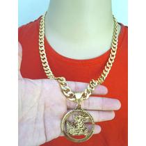 Corrente 13mm + Pingente São Jorge Folheado Banhado À Ouro