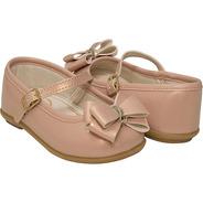 Sapato Infantil Nude C/ Laço 22 Ao 27 - Pimpolho 33127c