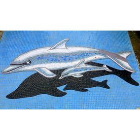 Mosaico Figura Delfin Con Bebe Y Sombra Para Alberca