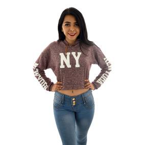 Sudadera Mujer Dama Con Gorro Ombliguera Comoda New York