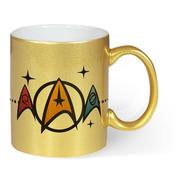Caneca Dourada Star Trek Insignias - Seriados