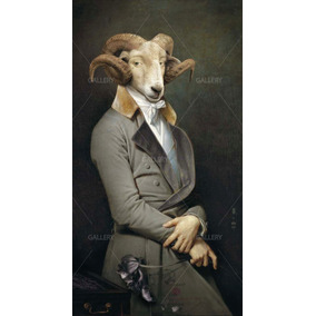 Lienzo Canvas Arte Borrego Cimarron Animales Vintage 90x50
