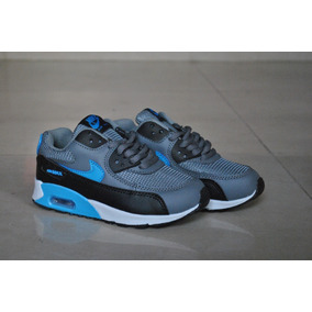 Kp3 Zapatos Nike Air Max 90 Gris Azul Para Niños
