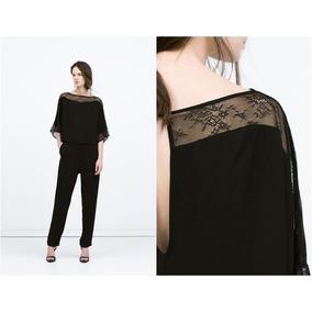 Mono Enterito Negro Zara Talla S/38 Pantalon Y Blusa Encaje