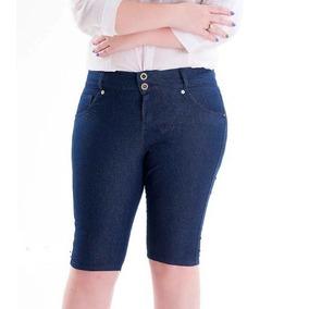 Bermuda Jeans Feminina Plus Size Nos Tam Maiores 2257 38 58