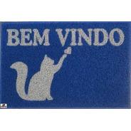 Capacho Tapete De Borracha Personalizado Bem Vindo Gato