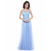 Vestido Festa Madrinhas Azul Claro Organza , Cetim E Renda
