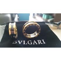 Anel Aliança De Cerâmica C Titânio Banho D Ouro 7mm Bvulgari