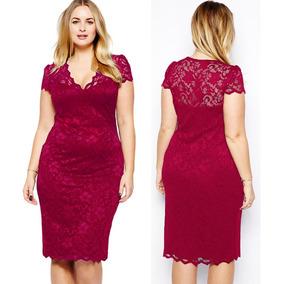 Elegante Vestido Corto Encaje Tallas Extra Rojo