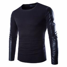 3ab755e314 Blusa Imita Couro Manga Longa Masculino - Camisas no Mercado Livre ...