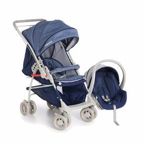 Conjunto Carrinho E Bebê Conforto Maranello Azul Galzerano