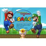 Tarjeta Invitación Cumpleaños Personalizadas Mario Bros