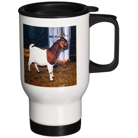 3drose Boer Doe Goat Travel Mug, 14-ounce