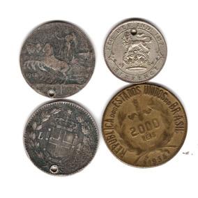 Lote 4 Monedas De Plata Extranjeras En Subasta A $1!!!