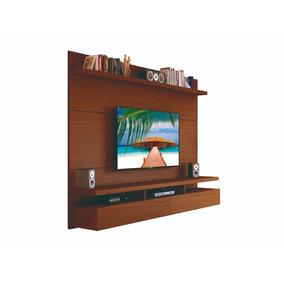 Home Mueble Tv Panel Colgante Pared 1,8 Mdp Marron Castaño