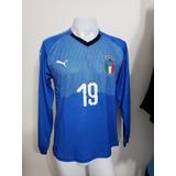 be1c457be4 Camisa Itália Home 18-19 Manga Longa Bonucci 19 Importada