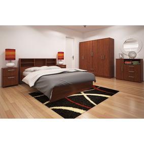 Dormitorio 2 Plazas+2 Mesa Luz + Ropero 6 P + Comoda Orlandi