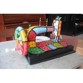 Máquina De Costura Manivela Antiga Decorada Artpop Patchwork