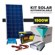 Kit Solar Con Inversor De 1500 Watts 220 V + 3 Panel De 160 W + Batería De 220 Ah Casa De Campo Autonomía Envió Gratis