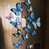 12 Mariposas Imantada Y Adhesiva Azul A Decorativas