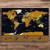 Mapamundi Para Raspar Mapa Sratch 88*59cm Banderas Poster