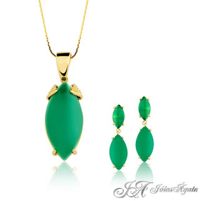 Conjunto Pedra Natural - Agata Verde Semi-jóia
