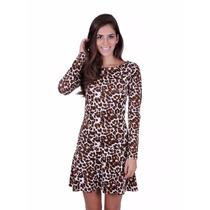 Vestido Animal Print Onça / Tigre Costas Nua Sensual Juju