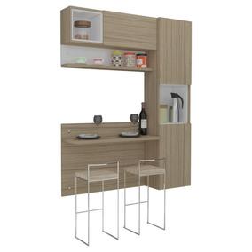 Cozinha Com Bancada,armários Prisma Ronipa-nogueira/branco