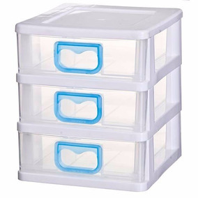 Gaveteiro Plástico Cinza 15,6x13,5x14,4cm 3 Gavetas