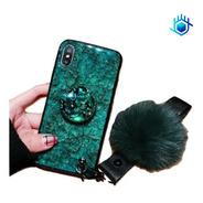 Case Marmol Huawei iPhone Galaxy Pompon + Sujetador Soporte Funda Correa Mano Charm Peluche Diamantes Dama Mujer Hombre