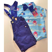 Conjunto Temático Baby Shark Luxo Azul
