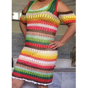 Vestido Colorido De Crochê Artesanal (tamanho G Pta Entrega