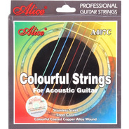 Encordadura A407c Colores Acero Alice P/guitarra Acústica