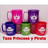Tazas Plásticas Princesa Y Pirata