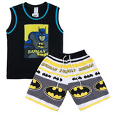 Kit 2 Conjunto Roupa Infantil Personagem Batman